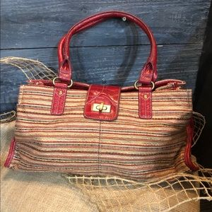 Nine & Co Red Leather and Tweed Handbag. OS